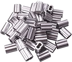 Wire Rope Aluminum Sleeve Wire Rope Aluminum Sleeves Clip Fittings Cable Crimps Set of 50 By Copapa (3/16 inch)