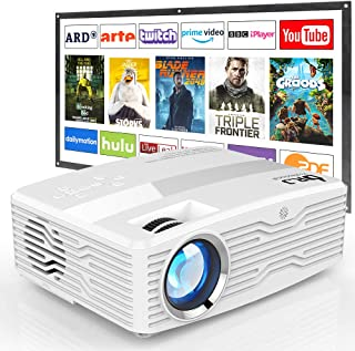"""[Full HD Native 1080P Projector with 100Inch Projector Screen] 7000Lumens LCD Projector Full HD Projector Max 300"""" Display..."""