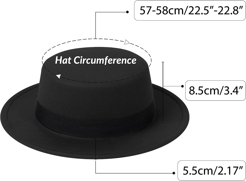 jingsha Two Tone Felt Fedora Hats Wide Brim Fedoras Flat Brim Fedora Hats with Band for Women and Men