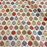 Tela de algodón por metros, diseño de farolillos japoneses, color rojo y azul, Seigaiha Asanoha