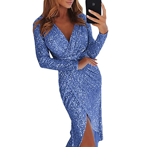 c533bcedbe0d Happy Sailed Womens Long Sleeve Deep V Neck Sequins Wraped Midi Dresses
