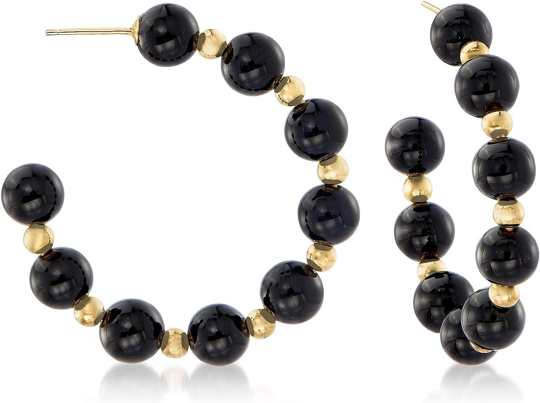 Ross-Simons Black Onyx Bead J-Hoop Earrings in 14kt Yellow Gold