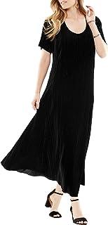 Women's Plus Size Pleated Crinkle Velour Dress