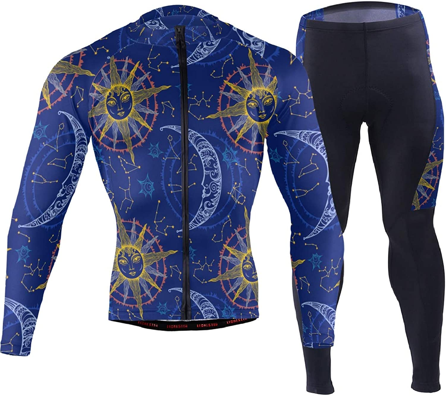 FAJRO Art Sun Moon Faces Sportswear Suit Bike Outfit Set Breathable Quick Dry 3D Padded Pants