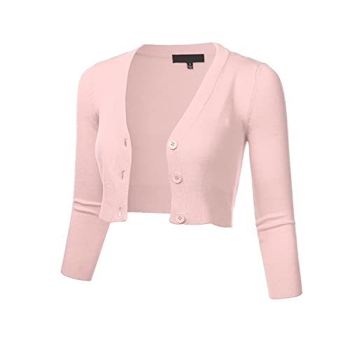 87fb76d92688 FLORIA Women s Solid Button Down 3 4 Sleeve Cropped Bolero Cardigan Sweater  (S-