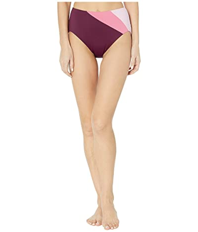 Kate Spade New York Color Blocking Reversible High-Waist Bikini Bottoms (Raisin) Women