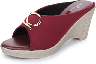 Global India Women's Synthetic Leather Wedges