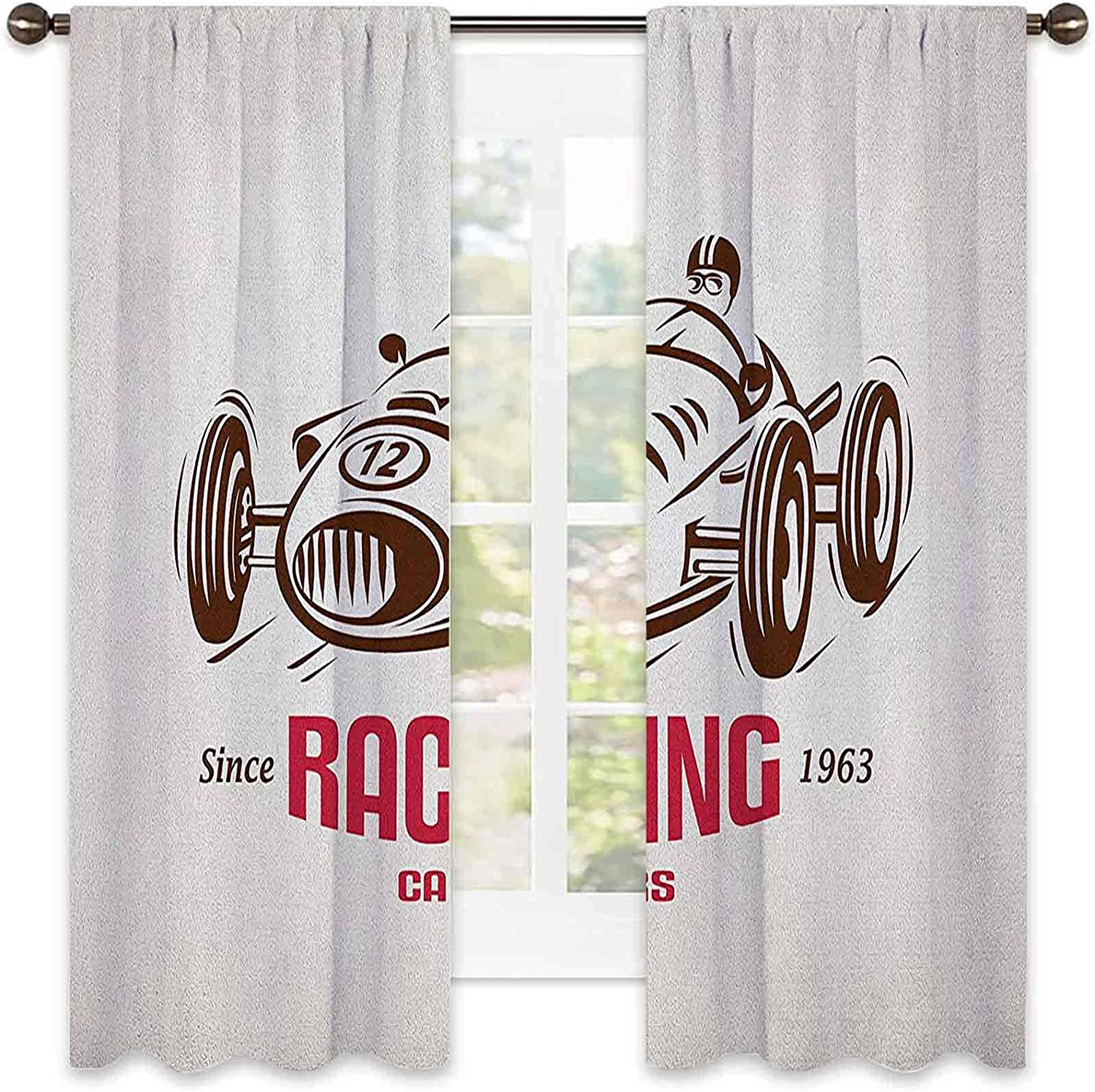 55% OFF Cars Shading Insulated Curtain Retro Race Car Emblem Form Style Max 67% OFF