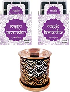 Aromafume Magic Lavender Incense Bricks (2 Trays x 9 Pieces Each) with Rainbow Exotic Incense Diffuser   Ideal for unwindi...