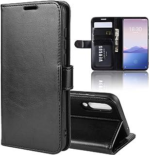GLXC Aydd Litchi Texture wallet&ホルダー&カードスロット付きMeizu 16xsのための水平フリップレザーケース (Color : Black)