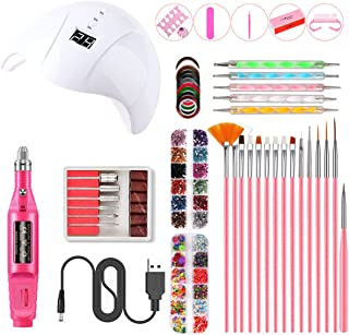 Rehomy Lámpara de uñas UV de 36 W, set de manicura, secador de uñas, luz eléctrica, taladro de uñas, limas de uñas, set de herramientas de arte de uñas, 3 ajustes de temporizador
