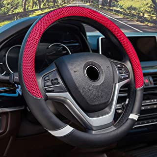 BAUZEIT Universal Car Steering Wheel Covers 15 inch/37-38cm Protector - Microfiber Leather & Ice Silk, Breathable, Anti Slip Automotive Cover Protection for Amateur Sport Racing Car Player