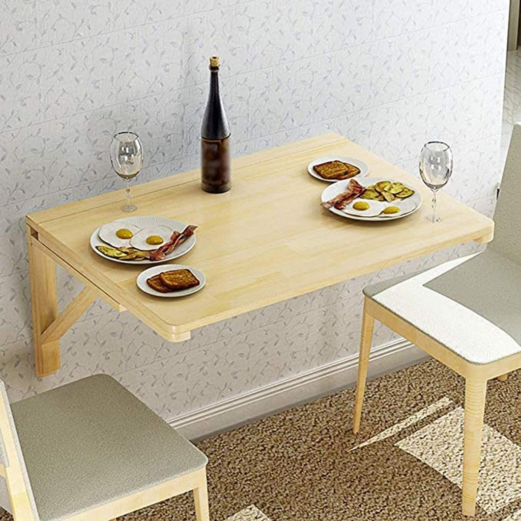 YUMUO Table Pliante Murale, Cuisine Salle à Manger Table à Feuilles Mobiles Ordinateur Portable Table de Bureau d'ordinateur Portable pour Petits espaces (Taille: 80 cm * 50 cm) 2