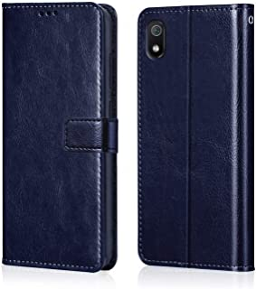 WOW Imagine Redmi 7A Case   Leather Finish   Inside TPU with Card Pockets   Wallet Stand   Shock Proof   Magnetic Closure   360 Degree Complete Protection Flip Cover for XIAOMI REDMI 7A - Blue