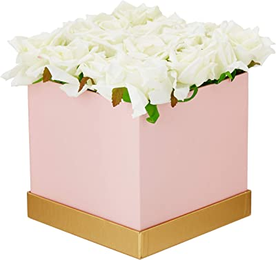 Fourwalls Artificial Rose Flowers in a Box for Valentines Day Gift (25 Flower in Box, 20 cm Tall, Pink and White)