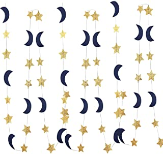 Moon and Star Garland Decorations Navy Gold Glitter Outer Space Birthday Party Decorations Hanging Decorations Honey Moon Wedding Engagement Twinkle Twinkle Little Star Baby Shower Birthday Decoration