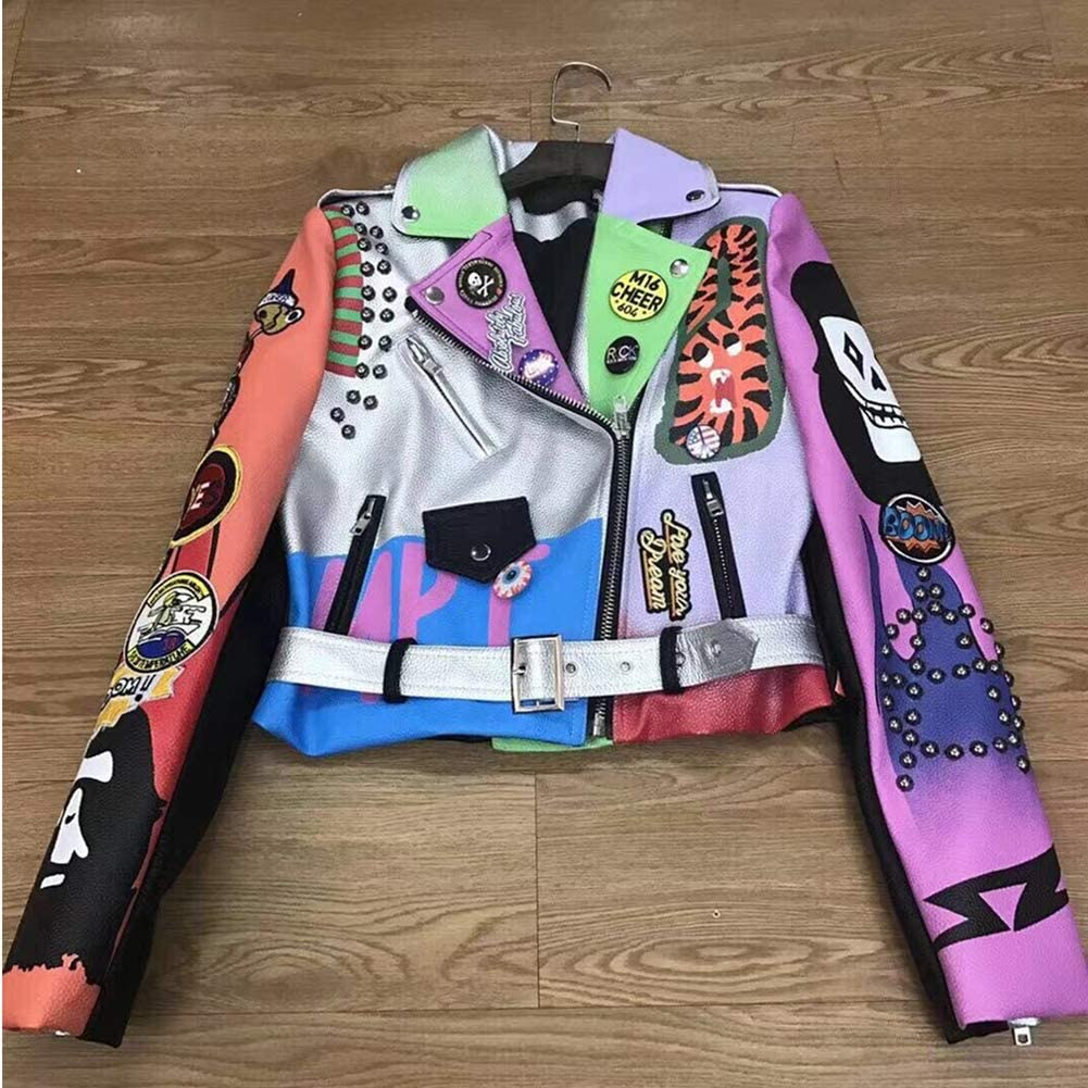 Cropped Leather Jackets Women Hip Hop Colorful Studded Coat Ladies Motorcycle Punk Cropped Jacket with Belt,Multicolor,L