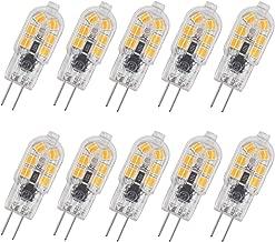Pocektman 2W G4 LED Bulb, Bi Pin Base, Transparent Case,20W Halogen Bulb Replacement, AC/DC 12V, Under Cabinet Light (Warm White 3000K, 10-Pack)