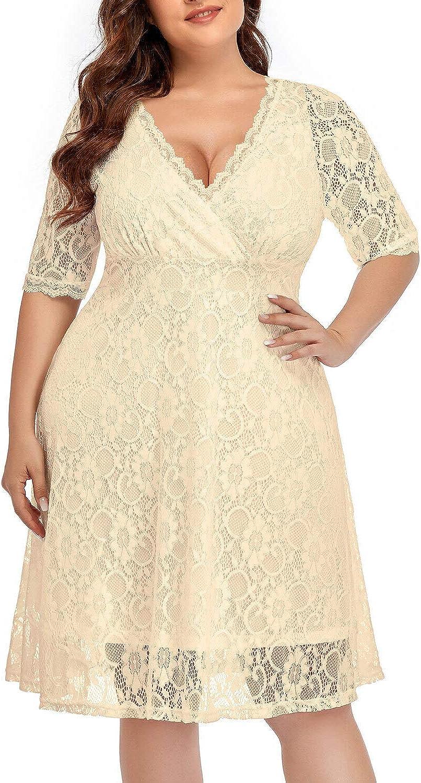 Women Lace V Neck Plus Size Half Sleeve Knee Length Cocktail Wedding Swing Dress