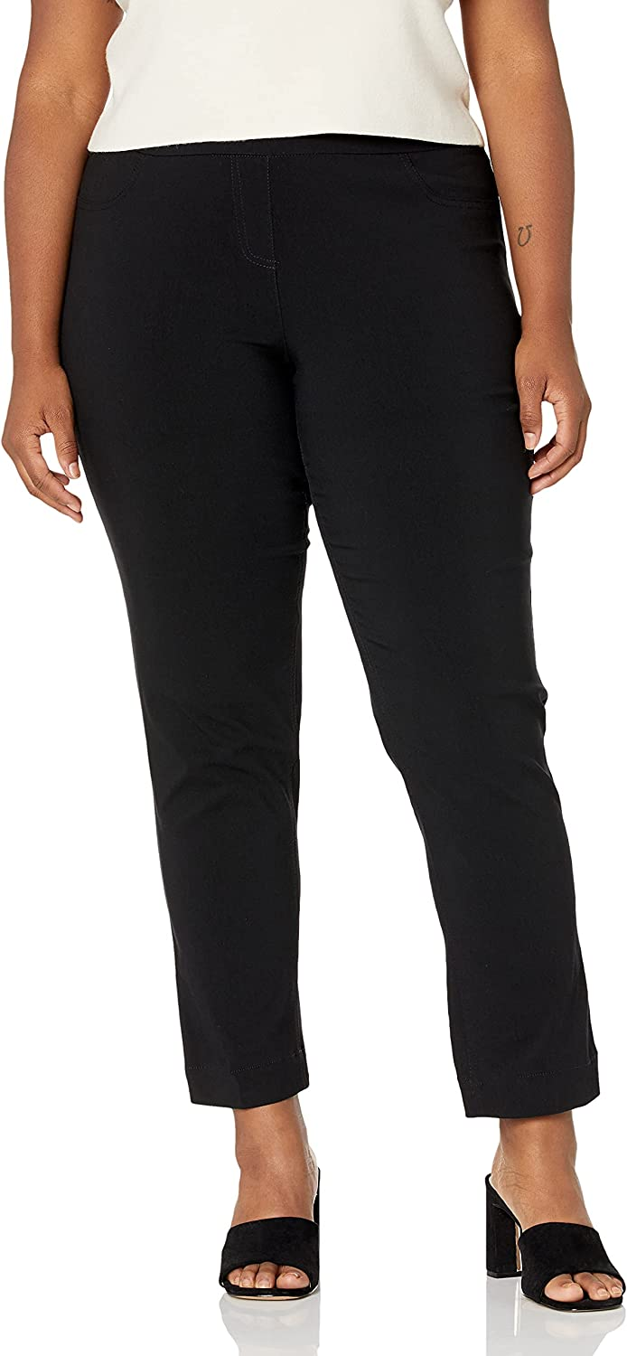 SLIM-SATION Women's Plus-Size Wide Band Pull-on Straight Leg Pant with Tummy Control