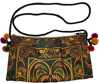 JIRAT AMA - Handmade 100% Organic Cotton HMONG Bag Hill Tribe Ethnic Embroidered Sling Crossbody Hippie Hobo Shoulder Purse (N040)