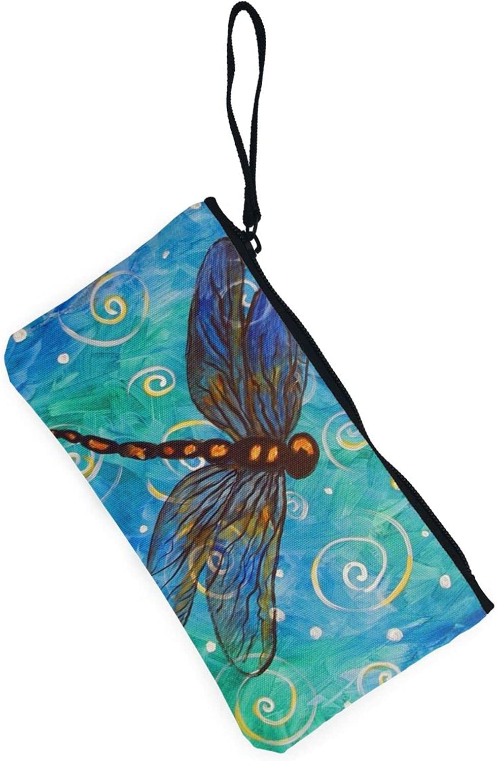 AORRUAM Blue dragonfly Canvas Coin Purse,Canvas Zipper Pencil Cases,Canvas Change Purse Pouch Mini Wallet Coin Bag