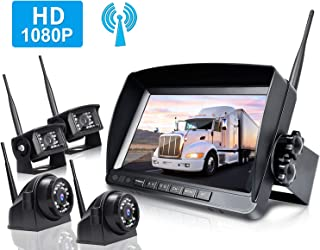 ZEROXCLUB Digital Wireless Backup Camera System Kit,HD1080P Wireless Reverse Rear Side View Camera,No Interference,IP69 Waterproof + 9'' LCD Wireless Monitor for RV/Truck/Trailer/Bus/Pickup/Van-W904