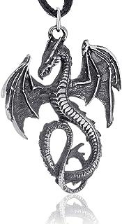 Namaste Jewelers Mythical Flying Dragon Pendant Necklace Pewter Jewelry