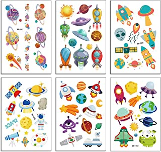 36 sheets Spaceship Alien Temporary Tattoos for Kids, Outer Space Planet Fake Tattoo Stickers for Boys and Girls, Nice Kids Birthday Party Favors