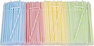 Yarlung 1000 Pack Flexible Plastic Straws, 8.6 Inch Disposable Stripes Bendy Straws, Extendable Drinking Straws for Partie...