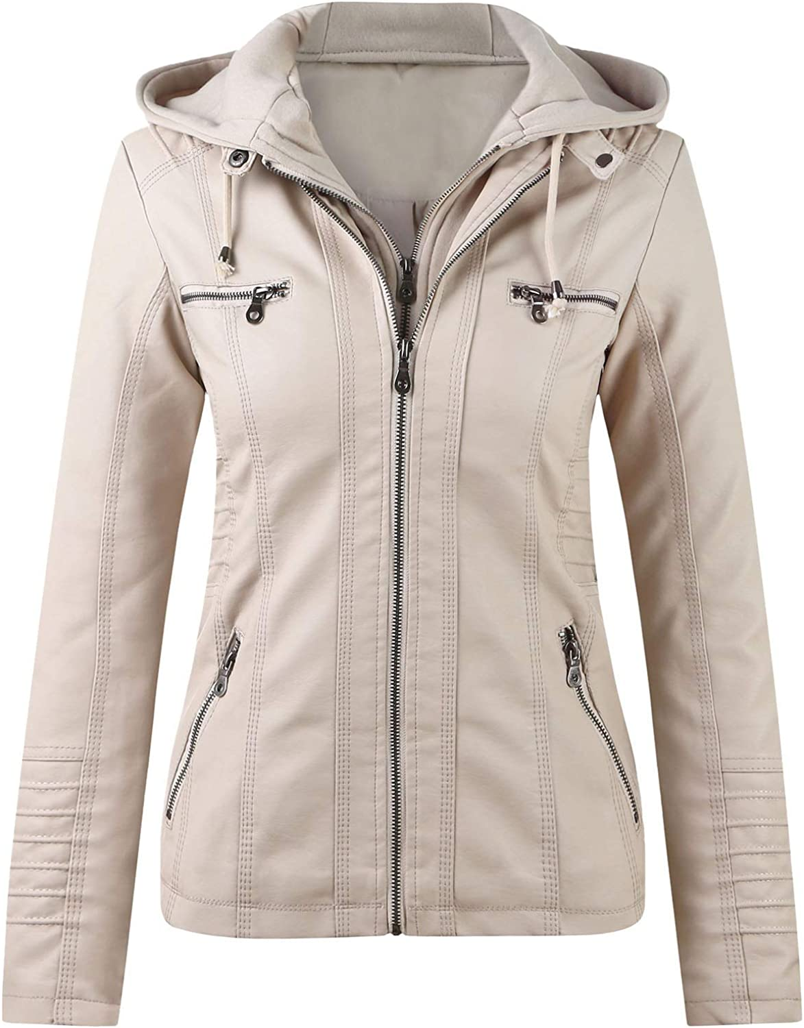 Tynelles Womens Faux Leather Motorcycle Jacket Zip Up Fitted Slim Coat Biker Outwear with Hood Short PU Jacket with Pocket Beige