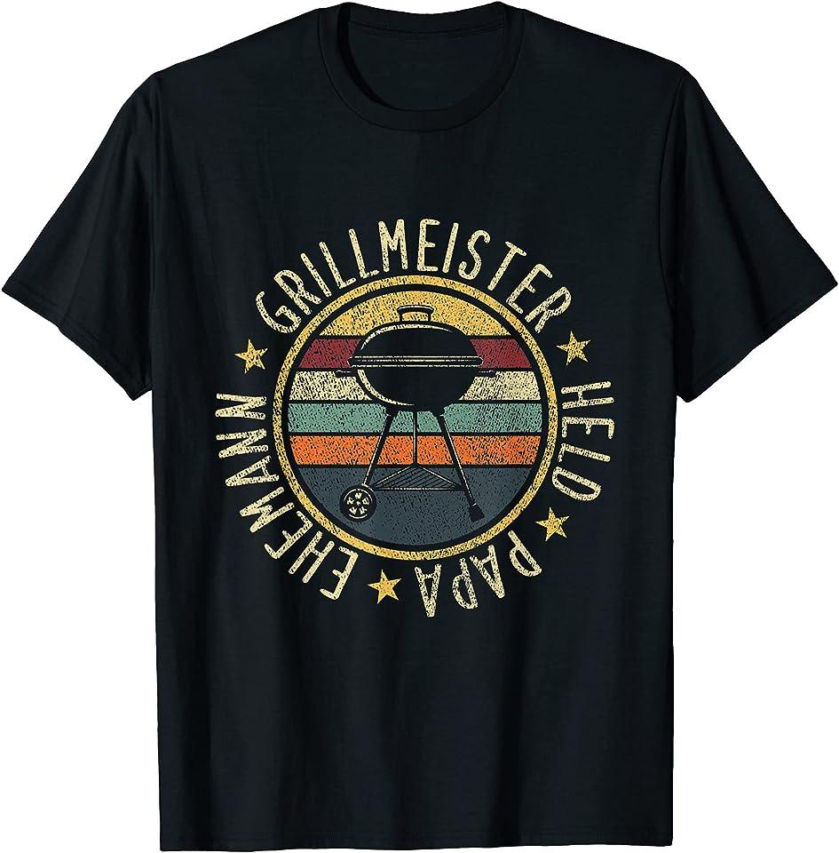 Herren Vater Grillmeister Papa Grillschürze Lustig Grillen Vatertag T-Shirt