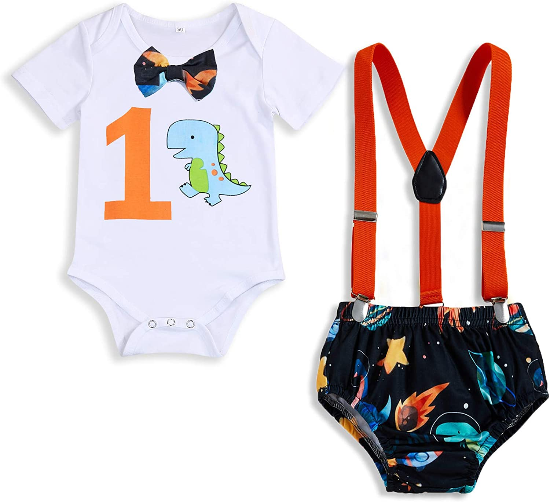 Baby Birthday Clothes 1st Shark Boys Girls Short Sleeve Bowtie Romper Shirt+Strap Suspender Shorts Cake Smash Outfits