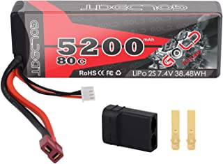 GOLDBAT 2S 5200mAh 7.4V 80C LiPo RC Battery Hard Case with Deans and TRX Plug for RC Evader BX Car RC Truck RC Truggy Racing RC Heli Airplane (1 Pack)