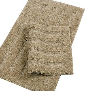 Seavish Luxury Khaki Bath Rug 2 Piece Set, 15.7 X 23.6 + 17.7 X 47 Striped Shaggy Bathroom Rugs,Non Slip Dry Fast Water Ab...
