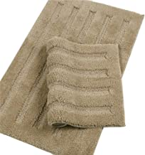 Seavish Luxury Khaki Bath Rug 2 Piece Set, 15.7 X 23.6 + 17.7 X 47 Striped Shaggy Bathroom Rugs,Non Slip Dry Fast Water Ab...