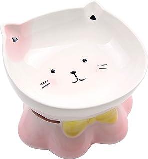 猫 食器 磁器 猫餌入れ 皿 猫用ボウル スタンド付き 猫用食器 猫餌台 猫餌皿 猫ご飯台 脚付き ペットボウル 浅広口