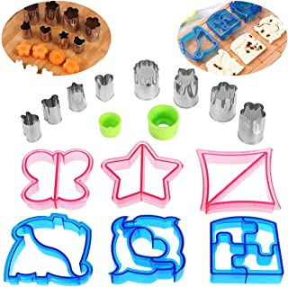 Sandwich Cutters Set 8pcs Stainless Steel Vegetable Molds and 6pcs Plastic Bread Cutters and 2pcs Handles