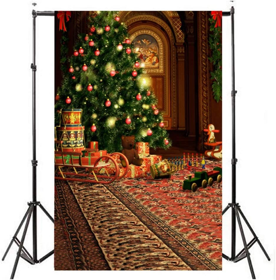 QERNTPEY Photo Backdrops Christmas Tree Ball Decorations for Home Photography Backdrops Christmas Background Photo Background Photographer Props Color : Multi-Colored, Size : 150x210cm