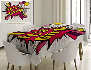 Unique Custom Cotton and Linen Blend Tablecloth Gender Reveal Decorations Pop Art Style Its A Girl Quote Comic Strip with Balloons Pink Purple YellowTablecovers for Rectangle Tables, 86 x 55 inches