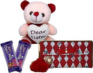 Saugat Traders Rakhi Gift for Sister - Women Wallet, Soft Teddy & 2 Chocolates - Birthday Gift for Sister Kid-Best Birthda...