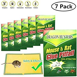 Dragon Hunters (Pack of 7) Large Size Mouse Glue Trap, Sticky Super Hold Glue Board Traps for Mice Rats Rodents Cockroaches Bugs Ants Spiders Scorpions, Extra Large (8.5