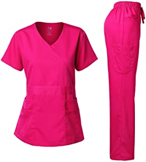 Dagacci Medical Uniform Women's Scrub Set Stretch and Soft Y-Neck Top and Pants