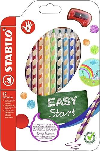 Crayon de coloriage - STABILO EASYcolors - Pochette de 12 crayons de couleur ergonomiques + taille-crayon - Droitier