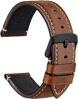 WOCCI Business Style Bracelet de Montre en Cuir, Boucle en Acier Inoxydable, 18 mm 20 mm 22 mm 24 mm