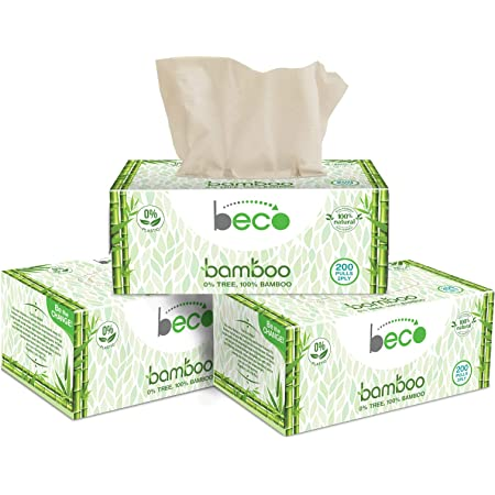 Eco Friendly - Beco Bamboo Natural Tissue Carbox - 200 Pulls Per Pack (Pack of 3) Organic Bamboo Facial Tissue Paper Box - White Facial Paper Tissues Alternative - Unbleached