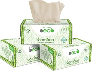 Eco Friendly - Beco Bamboo Natural Tissue Carbox - 200 Pulls Per Pack (Pack of 3) Organic Bamboo Facial Tissue Paper Box -...