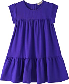 Toddler Girls Dress Short Sleeve Solid Color Tunic A-Line Tiered Swing Dress 2-6 7-16