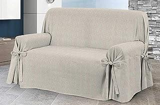 HomeLife – Cubre sillón – Elegante Protector de sofás a Rayas – Funda de sofá de algodón para Proteger del Polvo, Las Manchas y el Desgaste, Fabricado en Italia – Beige