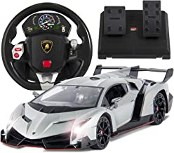 Best Choice Products 1/14 Scale Wheel Remote Control Luxury Lamborghini Veneno RC Car Toy for Kids w/ Gravity Sensor, Engine Sounds, Head and Rear Lights, Opening Door - Silver